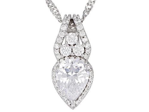 Photo of Bella Luce ® 3.31CTW White Diamond Simulant Rhodium Over Silver Pendant With Chain (2.19CTW DEW)
