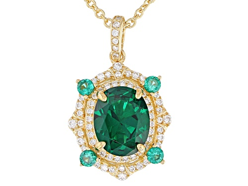 Photo of Bella Luce ® 3.24CTW Emerald and White Diamond Simulants Eterno ™ Yellow Gold Pendant With Chain