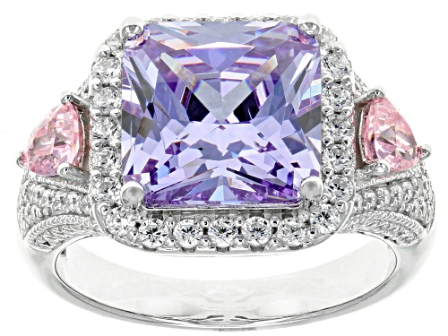 Photo of Bella Luce ® 8.81CTW Lavender, Pink, And White Diamond Simulants Rhodium Over Silver Ring - Size 8