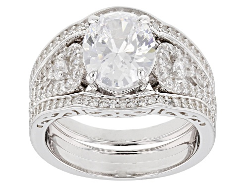 Photo of Bella Luce ® 5.54CTW White Diamond Simulant Rhodium Over Sterling Silver Ring With Bands - Size 9