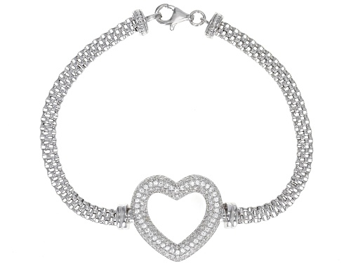 Photo of Bella Luce ® 2.10CTW White Diamond Simulant Rhodium Over Sterling Silver Heart Bracelet - Size 8