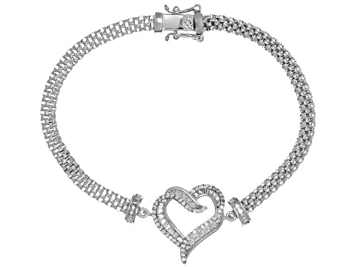 Photo of Bella Luce ® 1.79CTW White Diamond Simulant Rhodium Over Sterling Silver Heart Bracelet - Size 8
