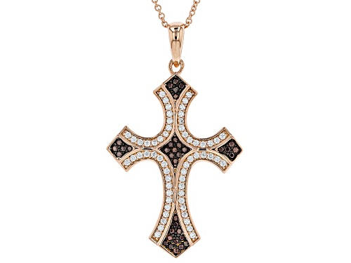 Photo of Bella Luce®0.94CTW Mocha & White Diamond Simulants Eterno™ Rose Over Silver Cross Pendant With Chain