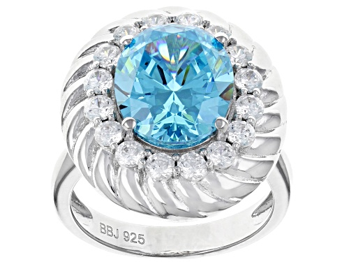 Photo of Bella Luce ® 9.59CTW Blue And White Diamond Simulants Rhodium Over Silver Ring (6.01CTW DEW) - Size 8