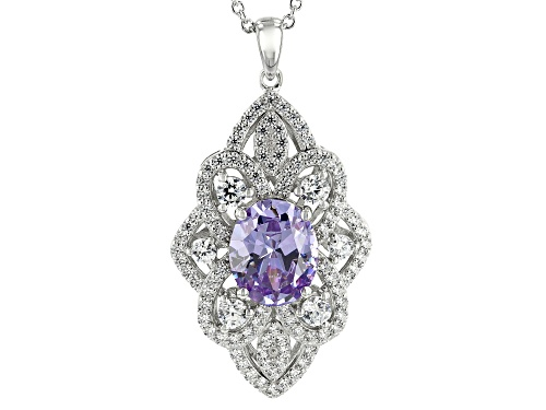 Photo of Bella Luce ® 8.74CTW Lavender And White Diamond Simulants Rhodium Over Silver Pendant With Chain