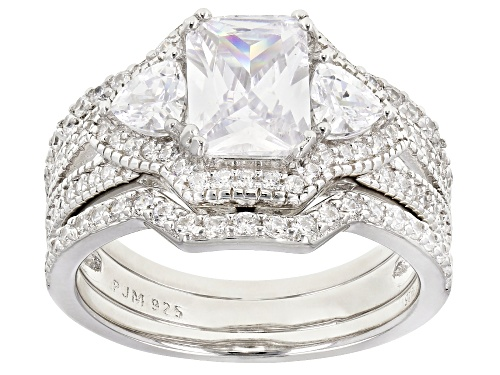 Photo of Bella Luce ® 4.39CTW White Diamond Simulant Rhodium Over Sterling Silver Ring With Bands - Size 7