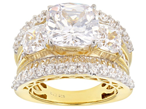 Photo of Bella Luce ® 12.97CTW White Diamond Simulant Eterno ™ Yellow Gold Over Sterling Silver Ring - Size 8