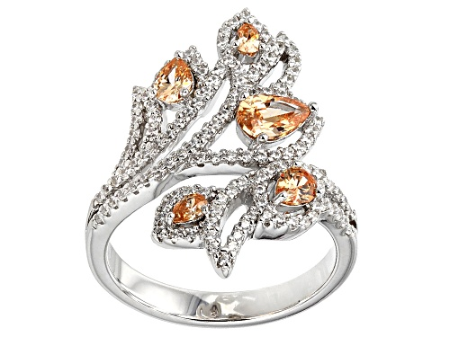 Photo of Bella Luce ® 2.47CTW Champagne And White Diamond Simulants Rhodium Over Silver Ring - Size 7