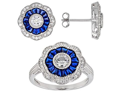 Photo of Bella Luce®5.50ctw Lab Blue Spinel & White Diamond Simulant Rhodium Over Silver Ring & Earrings