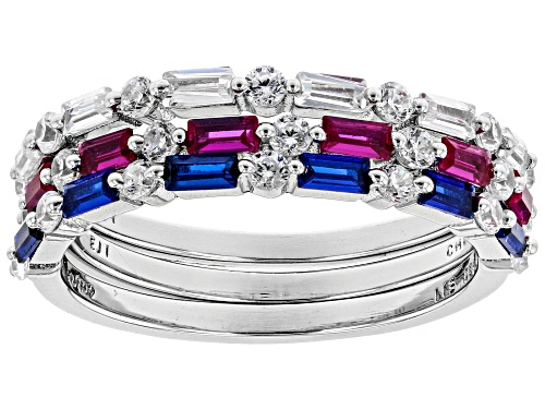 Photo of Bella Luce®2.62CTW Lab Ruby, Lab Blue Spinel, And Diamond Simulant Rhodium Over Silver Ring Set