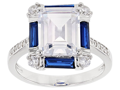 Photo of Bella Luce ® 7.44CTW Lab Blue Spinel And White Diamond Simulant Rhodium Over Sterling Silver Ring - Size 8
