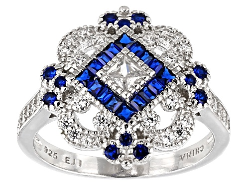 Photo of Bella Luce ® 1.75ctw Sapphire and White Diamond Simulants Rhodium Over Silver Ring - Size 10