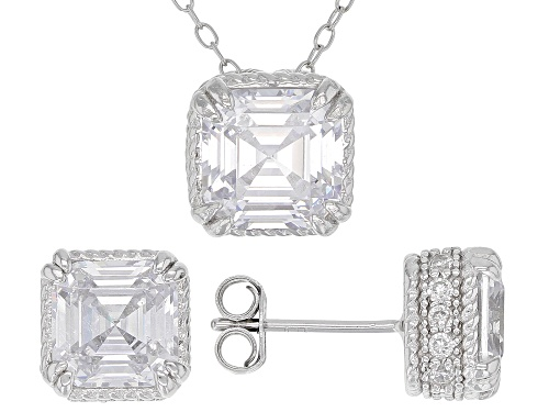 Photo of Bella Luce ® 10.98CTW Diamond Simulant Rhodium Over Sterling Silver Earrings And Pendant With Chain