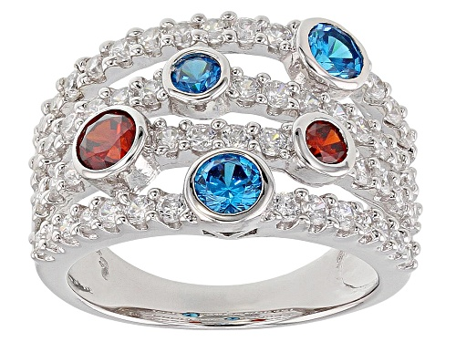 Photo of Bella Luce ® 3.33CTW Blue Apatite, Red, And White Diamond Simulants Rhodium Over Silver Ring - Size 7