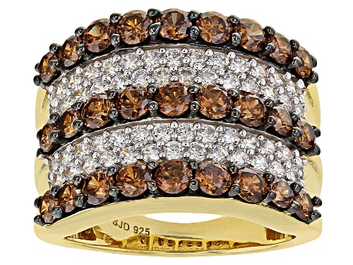 Photo of Bella Luce ® 5.48ctw Mocha and White Diamond Simulants Eterno ™ Yellow Ring (2.5ctw DEW) - Size 7