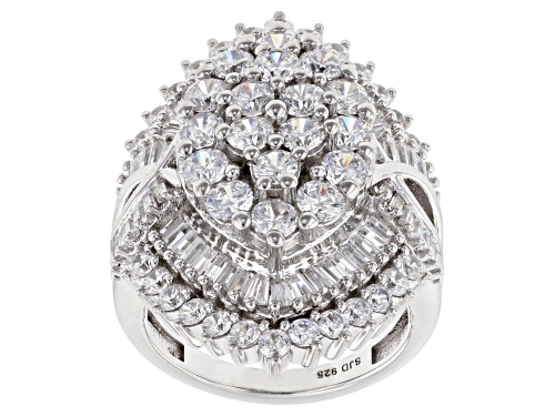 Photo of Bella Luce ® 7.40ctw White Diamond Simulant Rhodium Over Sterling Silver Ring (4.04ctw DEW) - Size 5
