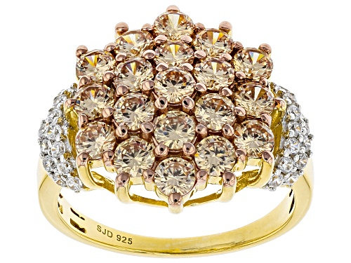 Photo of Bella Luce ® 4.23ctw Champagne And White Diamond Simulants Eterno™ Yellow Ring (2.37ctw DEW) - Size 10