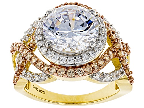 Bella Luce® 8.89ctw Champagne And White Diamond Simulants Eterno™ Yellow Ring (4.97ctw DEW) - Size 7