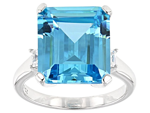 Photo of Bella Luce ® 15.34ctw Blue and White Diamond Simulants Rhodium Over Sterling Ring (11.46ctw DEW) - Size 9