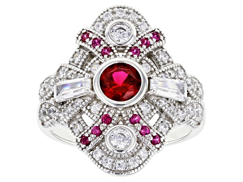 Photo of Bella Luce ® 2.10ctw Lab Created Ruby and White Diamond Simulant Rhodium Over Sterling Silver Ring - Size 7