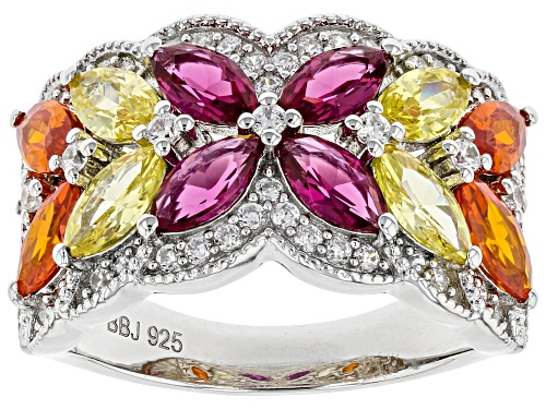 Photo of Bella Luce® 5.01ctw Multicolor Sapphire and White Diamond Simulants Rhodium Over Sterling Ring - Size 7