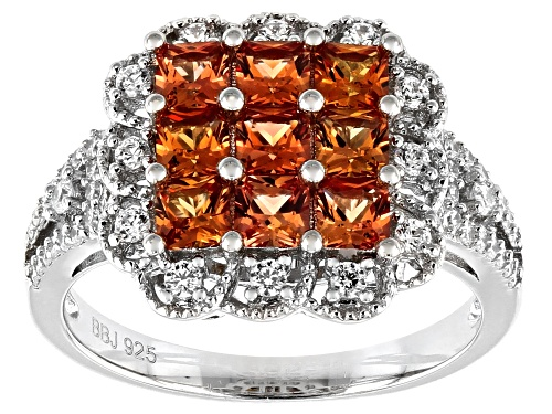 Photo of Bella Luce ® 2.04ctw Lab Created Orange Sapphire/White Diamond Simulants Rhodium Over Sterling Ring - Size 8