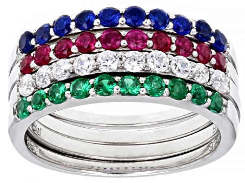 Photo of Bella Luce ® 1.70ctw Lab Ruby and Sapphire, Emerald, and White Diamond Simulants Rings- Set of 4 - Size 11