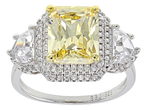 Photo of Bella Luce®6.98ctw canary and white diamond simulant rhodium over sterling silver ring(4.93ctw DEW) - Size 8