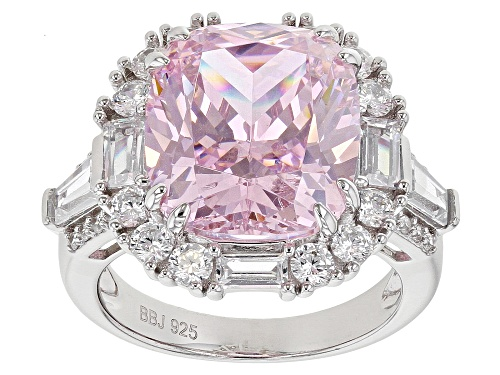 Photo of Bella Luce® 19.47ctw Pink and White Diamond Simulants Rhodium Over Sterling Ring (10.53ctw DEW) - Size 7