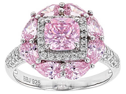Photo of Bella Luce ® 5.23ctw Pink and White Diamond Simulants Rhodium Over Sterling Ring (3.20ctw DEW) - Size 10