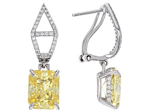 Photo of Bella Luce® 13.38ctw Canary and White Diamond Simulants Rhodium Over Sterling Earrings (8.10ctw DEW)