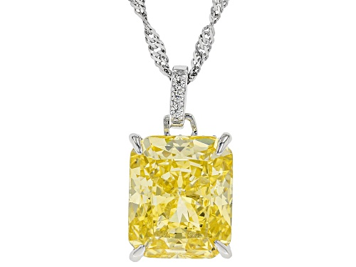 Photo of Bella Luce ® 11.72ctw Canary and White Diamond Simulants Rhodium Over Sterling Pendant with Chain