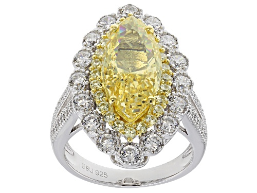 Photo of Bella Luce®10.79ctw Canary and White Diamond Simulants Rhodium Over Sterling Ring(5.06ctw DEW) - Size 7