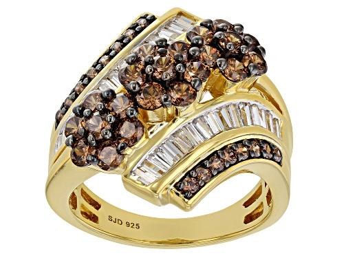 Photo of Bella Luce ® 4.38ctw Mocha And White Diamond Simulants Eterno™ Yellow Ring (2.70ctw DEW) - Size 5