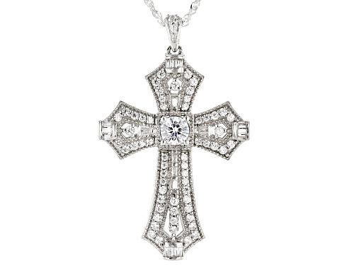 Photo of Bella Luce ® 2.71ctw Rhodium Over Sterling Silver Cross Pendant With Chain (1.63ctw DEW)