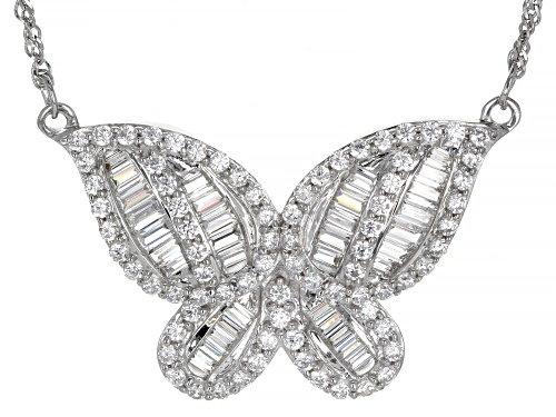 Photo of Bella Luce ® 3.61ctw Rhodium Over Sterling Silver Butterfly Necklace (2.92ctw DEW) - Size 18