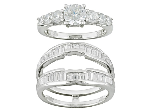 Photo of Bella Luce ® 3.65ctw White Diamond Simulant Rhodium Over Sterling Ring With Guard - Size 7