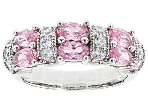Photo of Bella Luce® 2.81ctw Pink and White Diamond Simulants Rhodium Over Sterling Silver Ring (1.62ctw DEW) - Size 8
