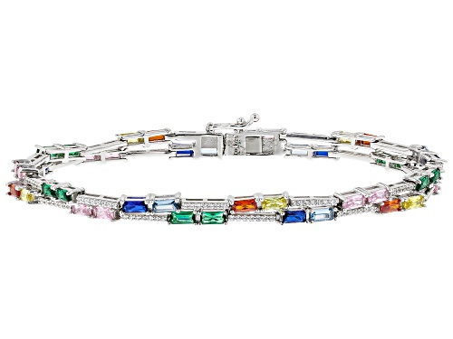 Photo of Bella Luce ® Multicolor Sapphire and White Diamond Simulants Rhodium Over Sterling Bracelet - Size 7.25