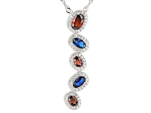 Photo of Bella Luce® Blue Sapphire, Ruby, Diamond Simulants Rhodium Over Silver Pendant With Chain