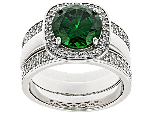 Photo of Bella Luce ® 5.95ctw Emerald and White Diamond Simulants Rhodium Over Silver Ring Set (0.64ctw DEW) - Size 11
