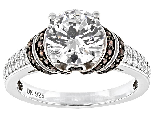 Photo of Bella Luce ® 4.30ctw Mocha and White Diamond Simulants Rhodium Over Sterling Ring (2.49ctw DEW) - Size 8