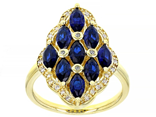 Photo of Bella Luce ® 2.40ctw Blue Sapphire and White Diamond Simulants Eterno ™ Yellow Ring - Size 7