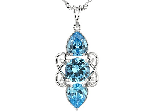 Photo of Bella Luce ® 5.76ctw Blue Diamond Simulant Rhodium Over Sterling Pendant With Chain (3.66ctw DEW)