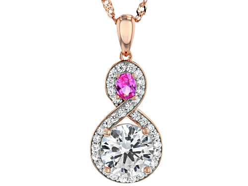 Photo of Bella Luce ® 4.15ctw Lab Pink Sapphire And White Diamond Simulant Eterno ™ Rose Pendant With Chain