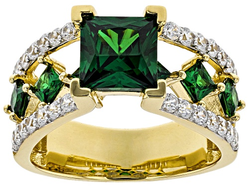Photo of Bella Luce ® 5.29ctw Emerald and White Diamond Simulants Eterno ™ Yellow Ring (3.46ctw DEW) - Size 8