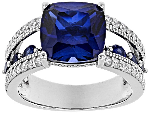 Photo of Bella Luce ® 7.24ctw Lab Created Blue Sapphire and White Diamond Simulant Rhodium Over Silver Ring - Size 8