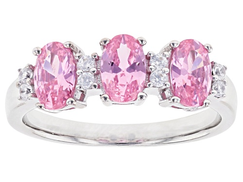 Photo of Bella Luce ® 2.13ctw Pink and White Diamond Simulant Rhodium Over Sterling Silver Ring (1.41ctw DEW) - Size 12