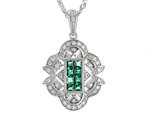 Photo of Bella Luce ® 0.46ctw Emerald and White Diamond Simulants Rhodium Over Silver Pendant With Chain