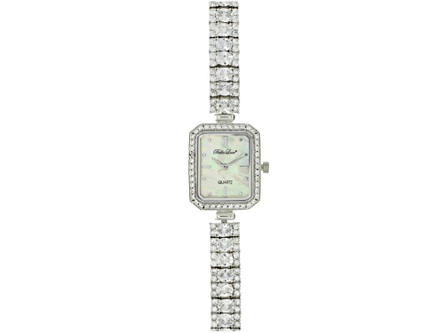 Photo of Bella Luce ® Ladies Round And Oval Diamond Simulant 13.5 Ctw Sterling Silver Mop Dial Watch